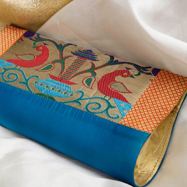 Blue Colour Paithani Box Pattern Purse