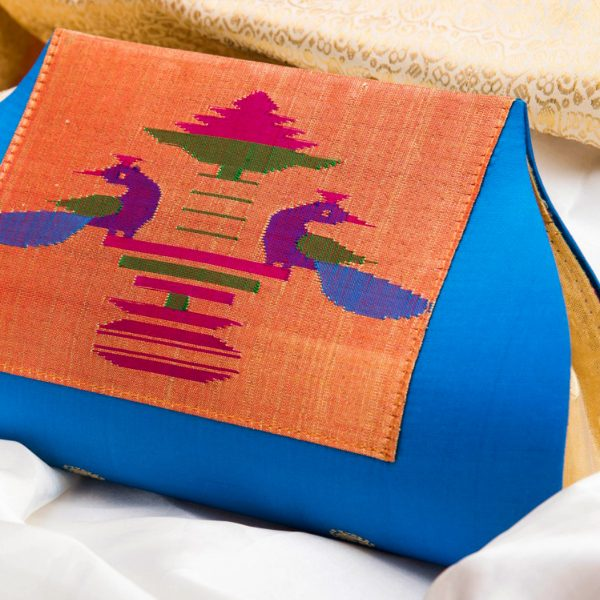 Pure Silk Paithani Box Pattern Purse