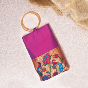 Voilet Colour Semi Silk Paithani Purse/mobile pouch