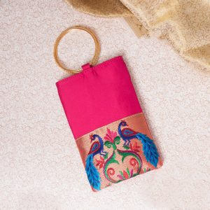 Pink Colour Semi Silk Paithani Purse/mobile pouch