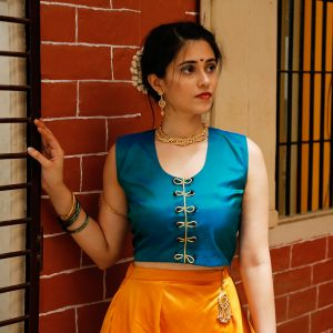 Mhalasa paithani orange silk skirt with chintamani crop top