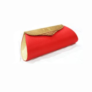 Red Colour Pure Silk Paithani Box with jari Pattern Purse