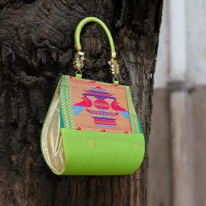 Light Green Colour Paithani Handbag / Purse