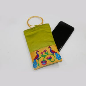 Green Colour Semi Silk Paithani Purse/mobile pouch