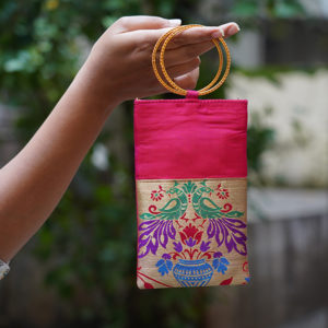 Candy-Pink-Colour-paithani-mobile-pouch