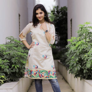 Cream Colour Designer Silk Kurti by Swapnagandha Collection