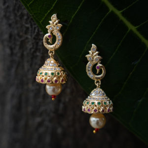 Dancing-Peacock-gold-Palted--Jhumki
