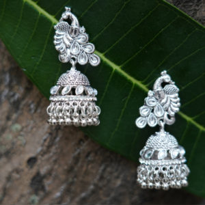 Dancing Peacock silver plated Palted oxidized Jhumki