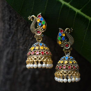 Multicolour-peacock-design-jhumka