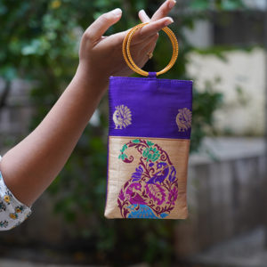 Royal-Blue-colour-paithani-mobile-pouch