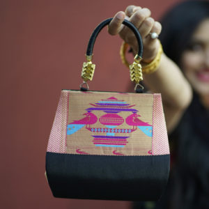 Black Colour Paithani Hand Bag