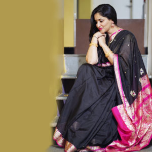 Black Colour Pink Border Peshwai Silk saree