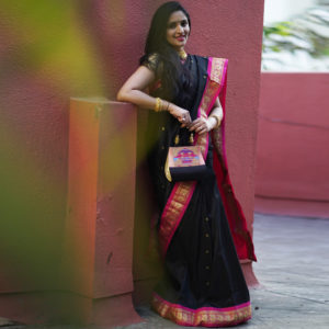 Black Colour & Pink Border Semi Gadhwal Paithani