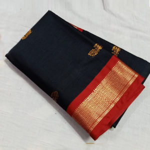 Black colour red border sico silk paithani