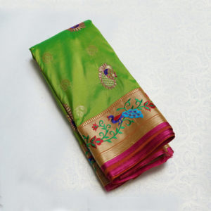 Green Colour Pankh Work Border Saree