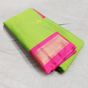 Green colour Pink Border Sico silk paithani