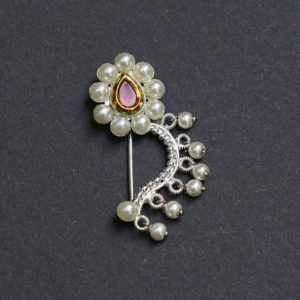 Maharashtrian Nath CZ Nose ring without piercing Pearl Nath