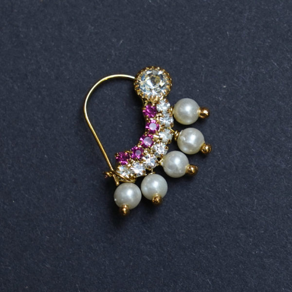 Nath Nose Ring Pink Colour Stone Along With Pearl Beads