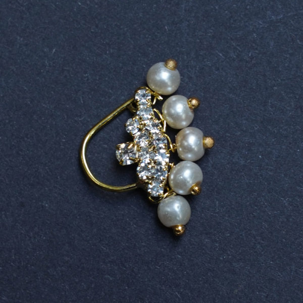 Nath Nose Ring White Colour Stone Along With Pearl Beads