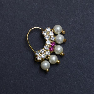 Nose Ring white Colour Stone Along With Pearl Beads