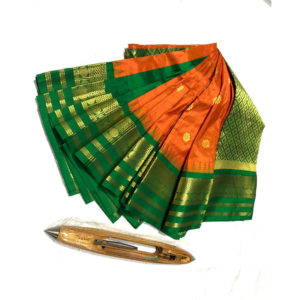 Orange & Green Colour Mahalaxmi Border Paithani