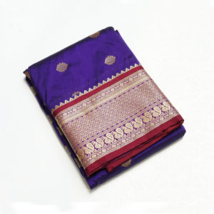 Purple Colour Mahalsa Doller Butta Semi silk Paithani-3500