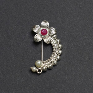 Silver Oxidised Nath Nose Ring Pink Colour Stone Along