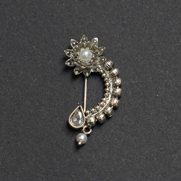 Silver oxidised maharrashtrian Nose ring with pearl