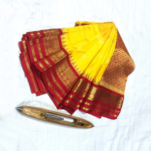 Yellow-&-Red-Combination-Mahalaxmi-Border-Paithani