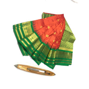 red & Green Colour Mahalaxmi Border Paithani