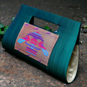 Pine colour silk paithani purse