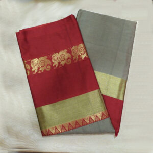 Grey-Colour-and-red-border-Sico-silk-Paithani