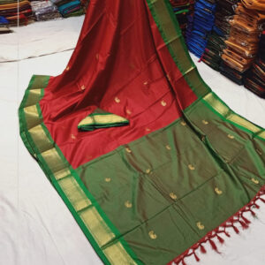Red colour green border sico silk paithani