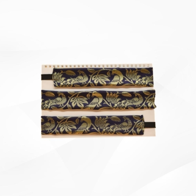 Blue & Golden colour printed Hair Bands (Pack of 3)