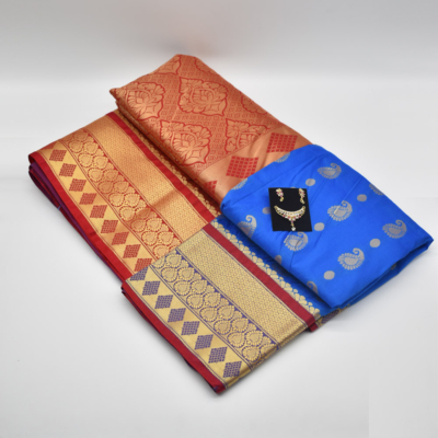 Blue Semi Silk Saree with Diamond Mangalsutra Set
