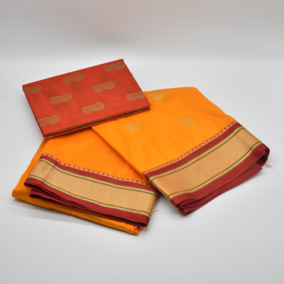 Orange Semi Silk Dress Material with Red Paithani Notebook