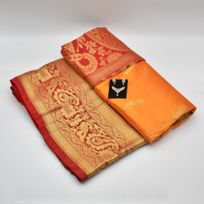 Orange Semi Silk Saree with Diamond Mangalsutra Set