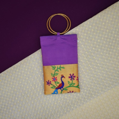 Paithani Mobile Pouch for Womens