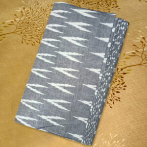 Grey Color with White Design Ikkat Material (Taga)